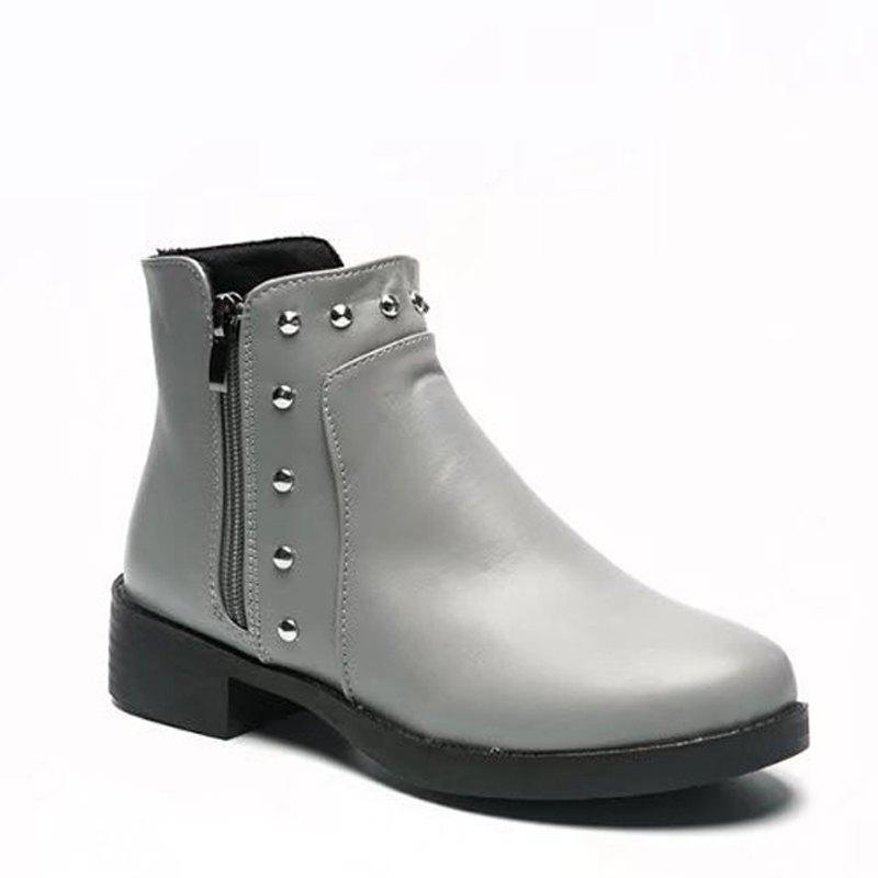 Winter Korean Version Rough Heel Martin Flat Chelsea Short Boots Female - GRAY 35