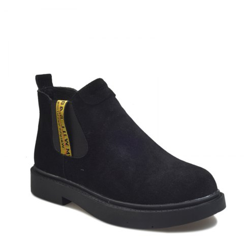 New Winter Boots A British Style Fashion Flat Keel Martin Wedgie - BLACK 35
