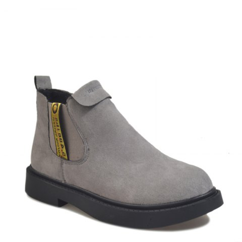 New Winter Boots A British Style Fashion Flat Keel Martin Wedgie - GRAY 35