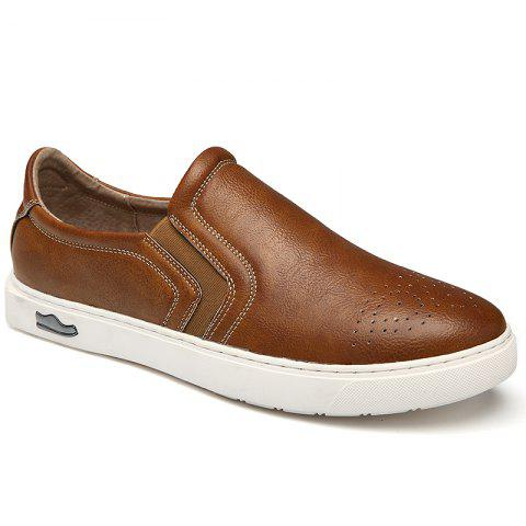 Bullock Men's Leisure Fashion Shoes Foot Thick Bottom Sleeve - BROWN 43