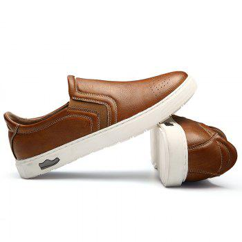 Bullock Men's Leisure Fashion Shoes Foot Thick Bottom Sleeve - BROWN 40