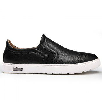 Bullock Men's Leisure Fashion Shoes Foot Thick Bottom Sleeve - BLACK 44