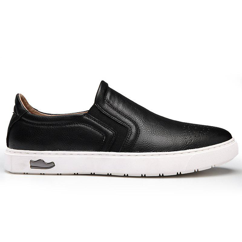 Bullock Men's Leisure Fashion Shoes Foot Thick Bottom Sleeve - BLACK 43