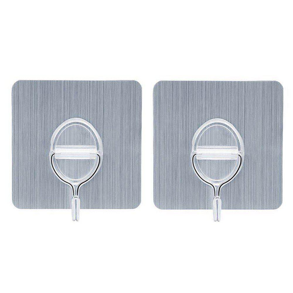 Removable Magic Adhesive Wall Hook for Kitchen Bathroom Bedroom Office 2PCS - BRUSHED SILVER