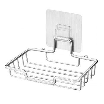 Soap Dish Bar Holder Self Adhesive Stainless Steel Easy Drain Design Saver for Shower or Bathroom - BRUSHED SILVER