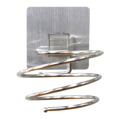 Stainless Steel Wall Mount Hair Dryer Holder Hook Organizer - BRUSHED SILVER