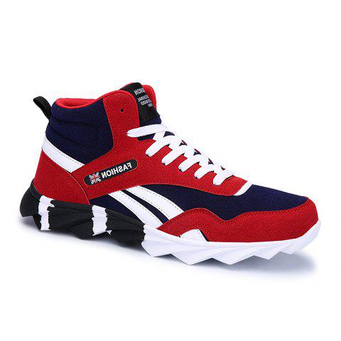 Men's Running Shoes Men Fashion Sneakers Mesh Breathable Casual - RED 42