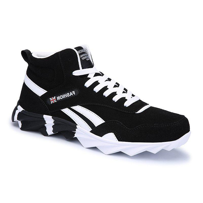 Men's Running Shoes Men Fashion Sneakers Mesh Breathable Casual - BLACK 40