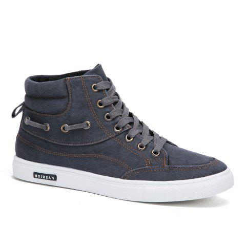 Men's Casual Canvas High Tops Lace Up Fashion Sneakers - GRAY 42
