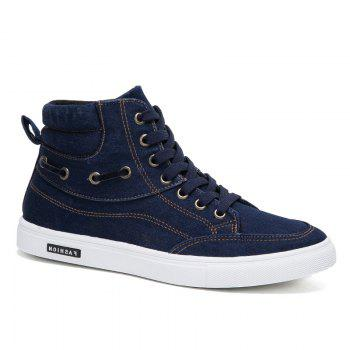 Men's Casual Canvas High Tops Lace Up Fashion Sneakers - BLUE BLUE