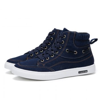 Men's Casual Canvas High Tops Lace Up Fashion Sneakers - BLUE 44