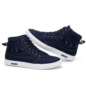 Men's Casual Canvas High Tops Lace Up Fashion Sneakers - BLUE 41
