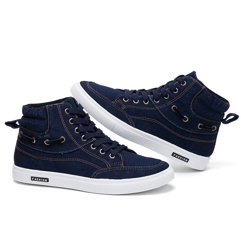 Men's Casual Canvas High Tops Lace Up Fashion Sneakers - BLUE 43