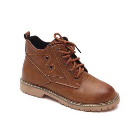 YQ-WK88 Round Tie A Retro All-match Boots - KHAKI 37