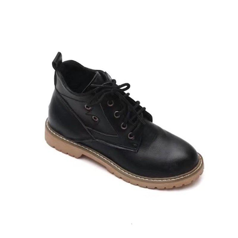 YQ-WK88 Round Tie A Retro All-match Martin Boots - BLACK 35