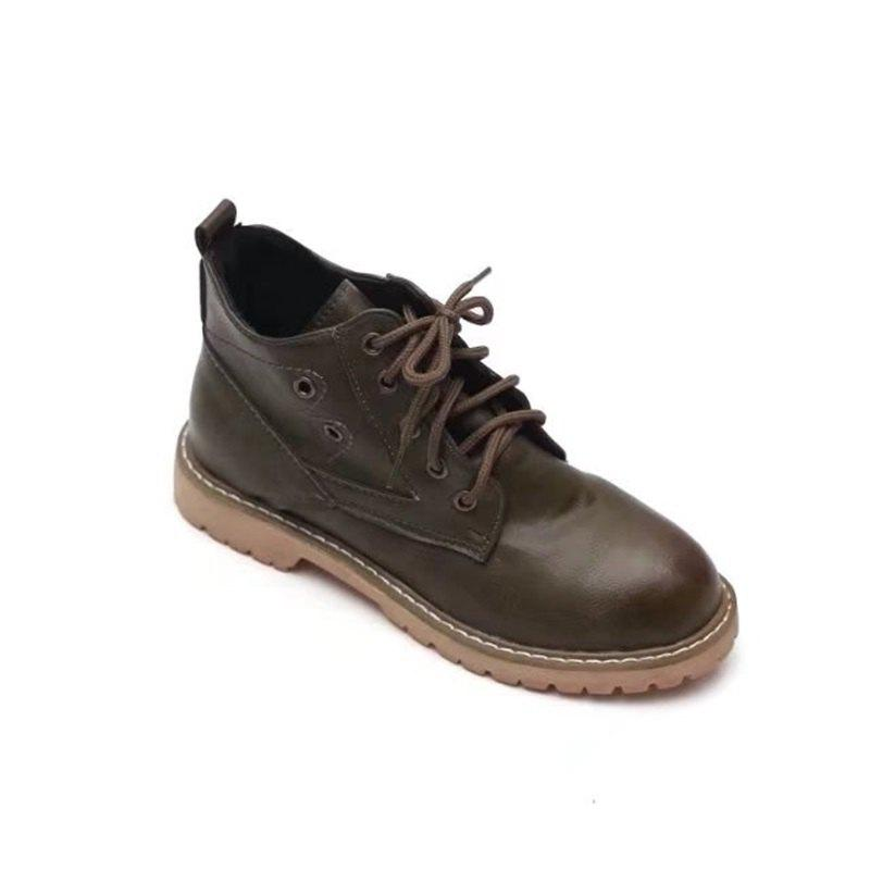 YQ-WK88 Round Tie A Retro All-match Martin Boots - GREEN 35