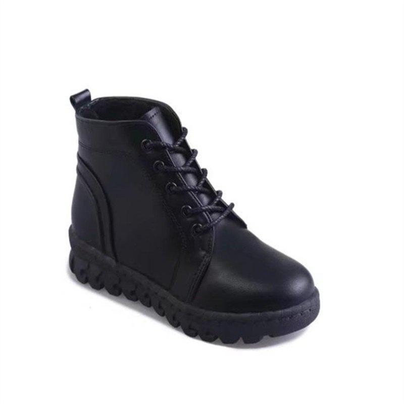 YQ-W7788 Round Tie Slip Warm All-Match Rivet Female Martin Boots - BLACK 38