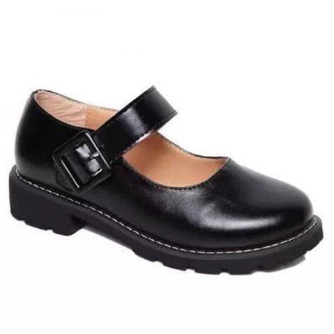 YQ-WA275 Round Low Heel Shallow Mouth Retro Doll Word Buckle Grandma Shoes - BLACK 36
