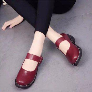 YQ-WA275 Round Low Heel Shallow Mouth Retro Doll Word Buckle Grandma Shoes - RED RED