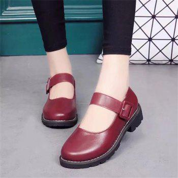 YQ-WA275 Round Low Heel Shallow Mouth Retro Doll Word Buckle Grandma Shoes - RED 38