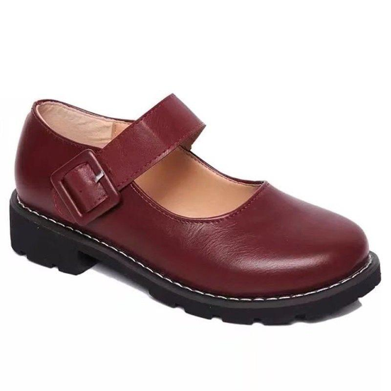 YQ-WA275 Round Low Heel Shallow Mouth Retro Doll Word Buckle Grandma Shoes - RED 39