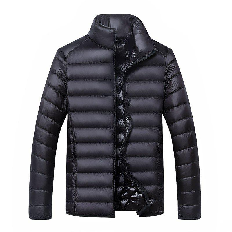 Men's Long Sleeved Down Jacket - BLACK L