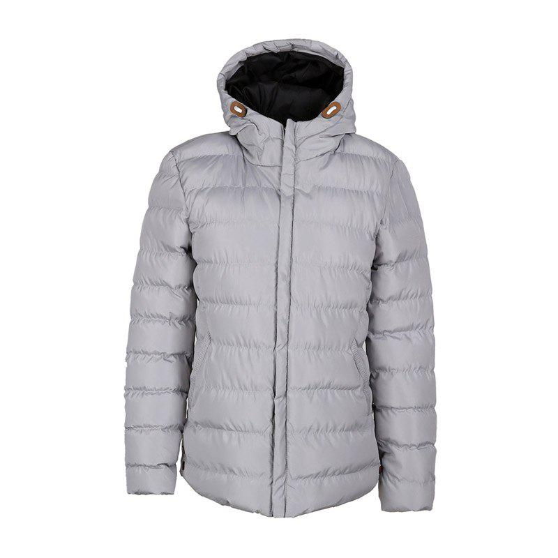 Men's Long Sleeve Cotton Padded Jacket - OYSTER L