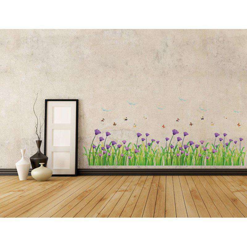 DSU Warm Romantic Purple Flowers Skirting Line Wall Stickers Wall Decal Home Decor подсвечники rich line home decor подсвечник