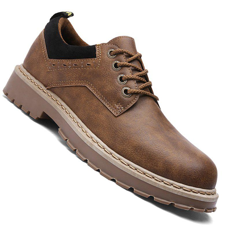Men Casual Fashion Metal Decoration Business Leather Shoes Size 39-44 - BROWN 42