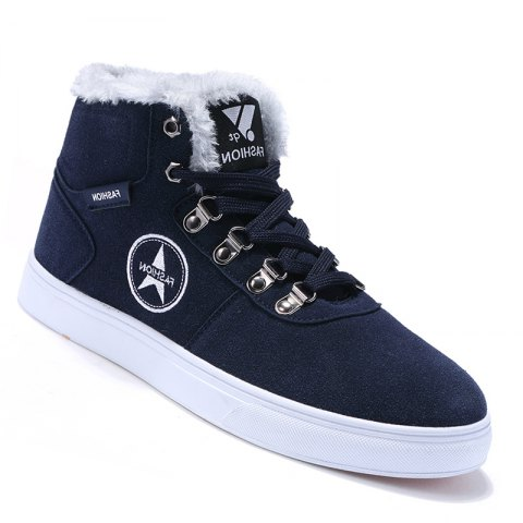 Hommes Casual Mode Toile Chaud Hiver Daim Cheville Bottes Taille 39-44 - BLUEBELL 40