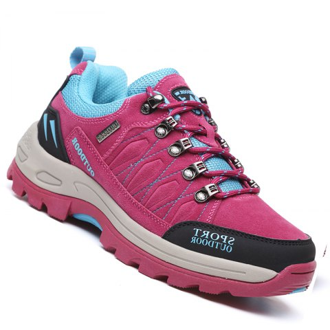 Outdoor Unisex Breathable Mesh Non-Slip Rubber Sole Clambing Hard-Resistant Walking Couple Shoes - ROSE RED 40