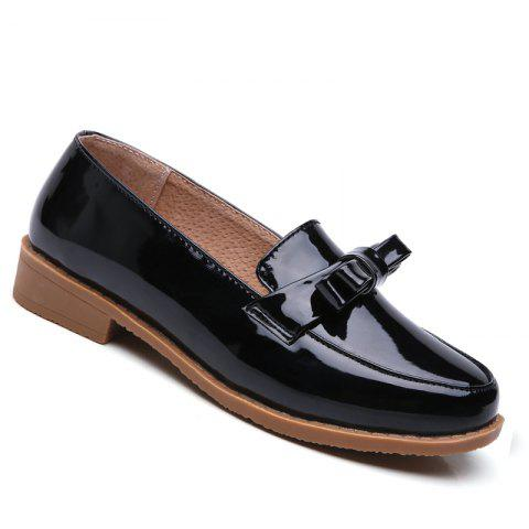 Women Platform Shoes Butterfly Knot Flats Slip on PU Leather Comfortable Round Toe Loafers - BLACK A 35