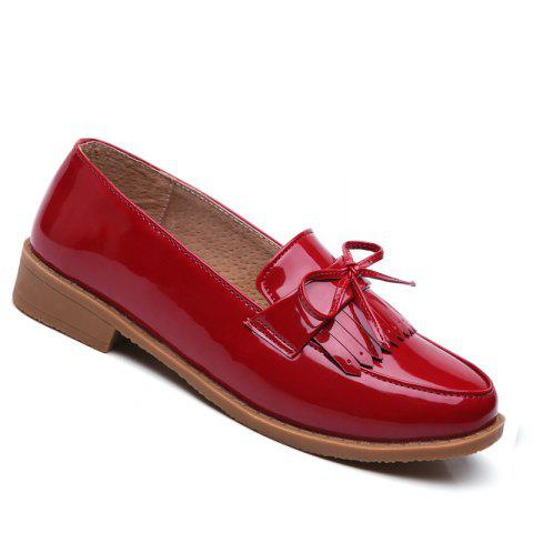 Women Platform Shoes Butterfly Knot Flats Slip on PU Leather Comfortable Round Toe Loafers - RED 34