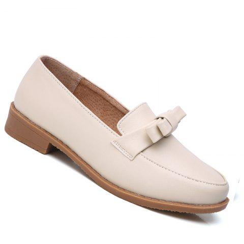 Women Platform Shoes Butterfly Knot Flats Slip on PU Leather Comfortable Round Toe Loafers - BEIGE 38