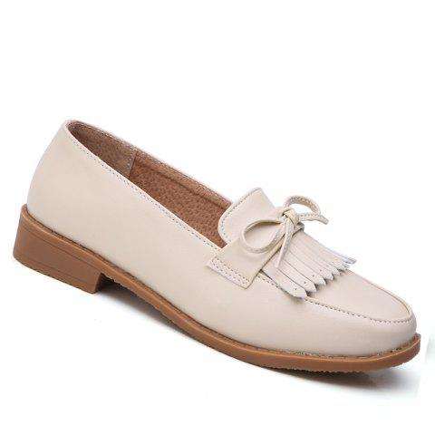 Women Platform Shoes Butterfly Knot Flats Slip on PU Leather Comfortable Round Toe Loafers - BEIGE / BEIGE 38