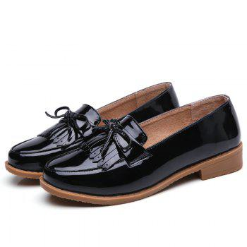 Women Platform Shoes Butterfly Knot Flats Slip on PU Leather Comfortable Round Toe Loafers - BLACK A 36
