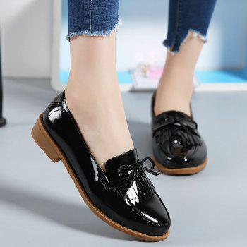 Women Platform Shoes Butterfly Knot Flats Slip on PU Leather Comfortable Round Toe Loafers - BLACK 38