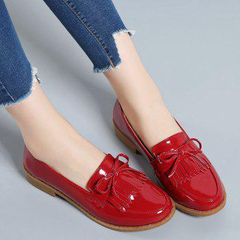 Women Platform Shoes Butterfly Knot Flats Slip on PU Leather Comfortable Round Toe Loafers - RED 37