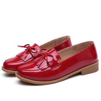 Women Platform Shoes Butterfly Knot Flats Slip on PU Leather Comfortable Round Toe Loafers - RED 35