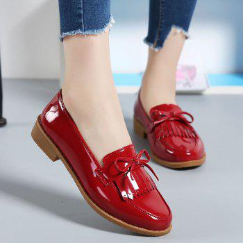 Women Platform Shoes Butterfly Knot Flats Slip on PU Leather Comfortable Round Toe Loafers - RED 36