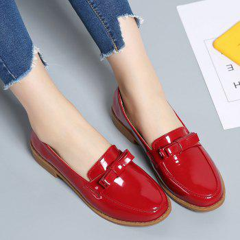 Women Platform Shoes Butterfly Knot Flats Slip on PU Leather Comfortable Round Toe Loafers - FLAME 38