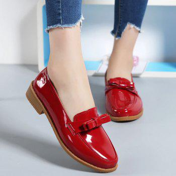 Women Platform Shoes Butterfly Knot Flats Slip on PU Leather Comfortable Round Toe Loafers - FLAME 34