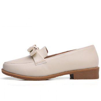 Women Platform Shoes Butterfly Knot Flats Slip on PU Leather Comfortable Round Toe Loafers - BEIGE 40