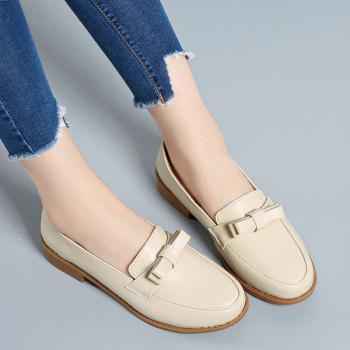 Women Platform Shoes Butterfly Knot Flats Slip on PU Leather Comfortable Round Toe Loafers - BEIGE BEIGE