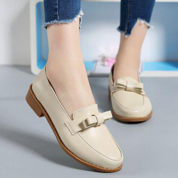 Women Platform Shoes Butterfly Knot Flats Slip on PU Leather Comfortable Round Toe Loafers - BEIGE 35
