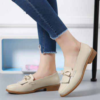 Women Platform Shoes Butterfly Knot Flats Slip on PU Leather Comfortable Round Toe Loafers - BEIGE / BEIGE BEIGE / BEIGE