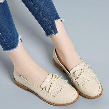 Women Platform Shoes Butterfly Knot Flats Slip on PU Leather Comfortable Round Toe Loafers - BEIGE / BEIGE 40