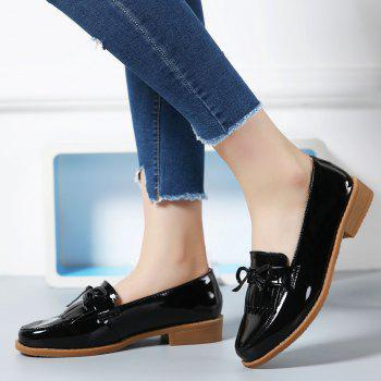 Women Platform Shoes Butterfly Knot Flats Slip on PU Leather Comfortable Round Toe Loafers - BLACK A 39
