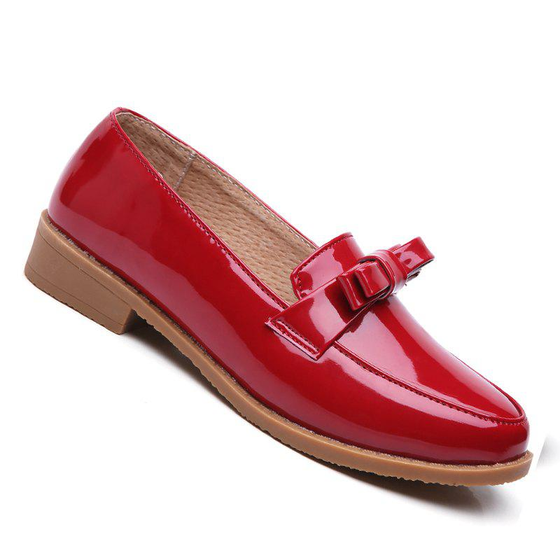 Women Platform Shoes Butterfly Knot Flats Slip on PU Leather Comfortable Round Toe Loafers - FLAME 40