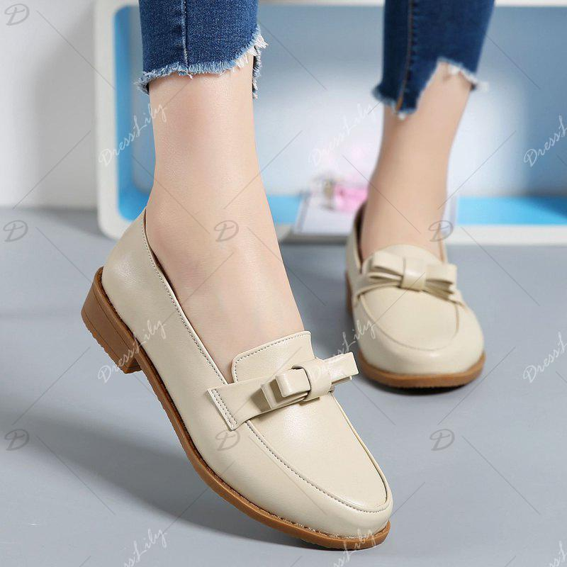 Women Platform Shoes Butterfly Knot Flats Slip on PU Leather Comfortable Round Toe Loafers - BEIGE 37